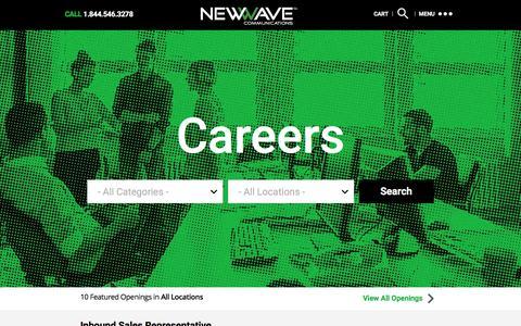 Screenshot of Jobs Page newwavecom.com - Careers « NewWave Communications - captured Feb. 14, 2016