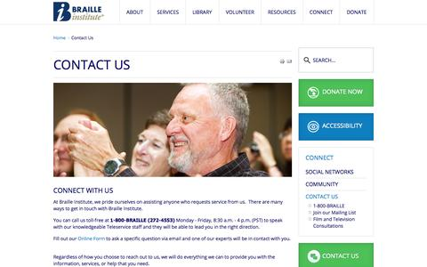 Screenshot of Contact Page brailleinstitute.org - Contact Us - captured Nov. 3, 2014