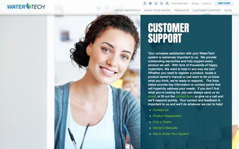 Screenshot of Support Page watertech.com - Water Purification Customer Support Center - WaterTech - captured May 30, 2019