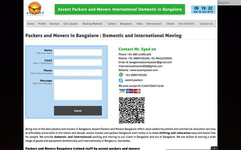 Screenshot of Home Page ascentpacker.com - Best Packers & Movers | Ascent Packers & Movers Bangalore - captured Nov. 16, 2019