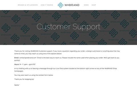 Screenshot of Support Page webrand.com - Customer Support Ń WeBRAND | INFLUENCER MARKETING, BRANDING, LICENSING, CROWDFUNDING - captured Dec. 20, 2015