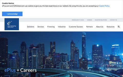 Screenshot of Jobs Page eplus.com - Careers - captured Feb. 22, 2020