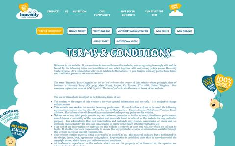 Screenshot of Terms Page heavenlytasty.com - Heavenly Tasty Organics :: Terms & Conditions - captured Nov. 1, 2014