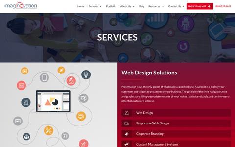 Screenshot of Services Page imaginovation.net - Raleigh Web Design & Web Development Services - Imaginovation - captured Nov. 18, 2015