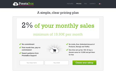 Screenshot of Pricing Page artesanodelapasta.es - Pricing - How much does PrestaBox cost ? - captured Oct. 4, 2014