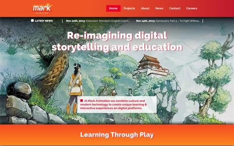 Screenshot of Home Page markanimation.com - Home | Mark Animation - captured Sept. 30, 2014
