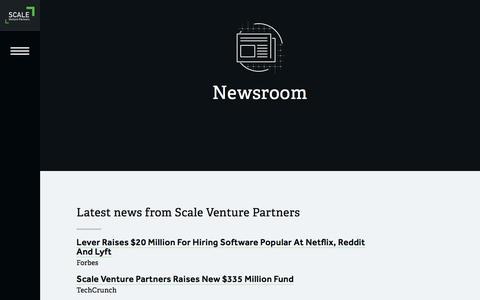 Screenshot of Press Page scalevp.com - Newsroom | Scale Venture Partners - captured Feb. 4, 2016