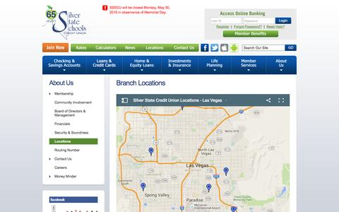 Screenshot of Locations Page silverstatecu.com - Silver State Schools Credit Union : Las Vegas Credit Union Branch Locations, Maps and Driving Directions - captured May 27, 2016