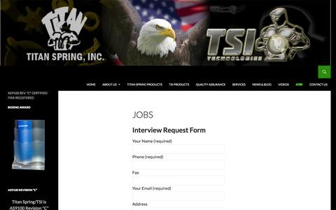 Screenshot of Jobs Page titanspring.com - Job Opportunities at Titan Spring/TSI Technologies | AEROSPACE AND DEFENSE SPECIALTY MANUFACTURING FOR OVER 50 YEARS - captured Feb. 18, 2016