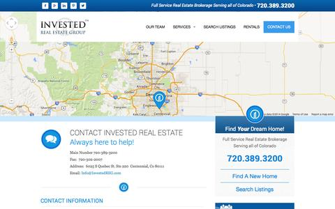 Screenshot of Contact Page investedreg.com - Contact Us | Invested Real Estate | Denver Colorado | Commercial Real Estate | Residential Real Estate - captured Oct. 6, 2014