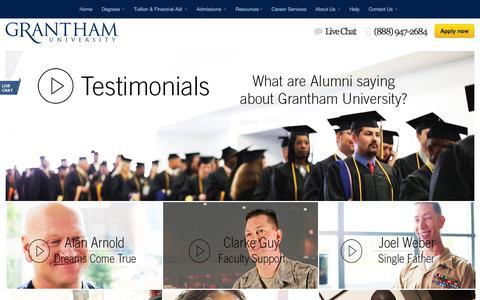Screenshot of Testimonials Page grantham.edu - Testimonial | Grantham.edu - captured Oct. 20, 2015