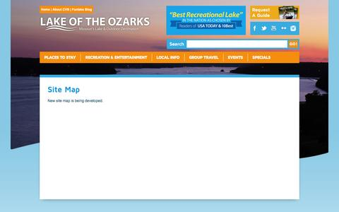 Screenshot of Site Map Page funlake.com - Lake of the Ozarks - Site Map - captured Oct. 15, 2016