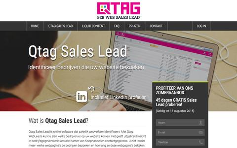 Screenshot of Home Page sales-lead.nl - Sales Lead: Web Sales Lead generator herkent bedrijven die websites bezoeken - captured Sept. 24, 2015