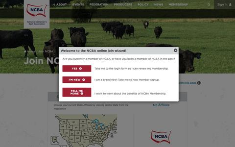 Screenshot of Signup Page beefusa.org - Join NCBA - captured Nov. 27, 2018