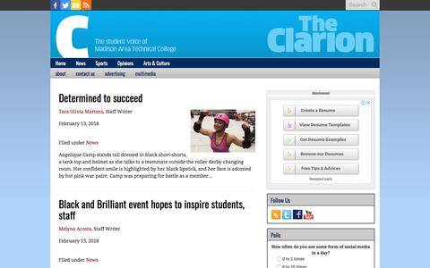 Screenshot of Press Page theonlineclarion.com - News Archives - The Clarion - captured Feb. 26, 2018