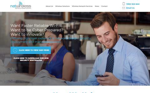 Screenshot of Home Page netwireless.com.au - Wireless Services | Wireless Technology Solutions | Wireless Design - captured Oct. 20, 2018