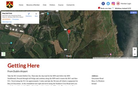 Screenshot of Maps & Directions Page braygolfclub.com - Bray, Co.Wicklow, Ireland - Directions - captured Nov. 6, 2018