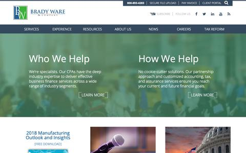 Screenshot of Home Page bradyware.com - Brady Ware CPAs   Certified Public Accountants   Ohio   Georgia   Indiana - captured Oct. 6, 2018
