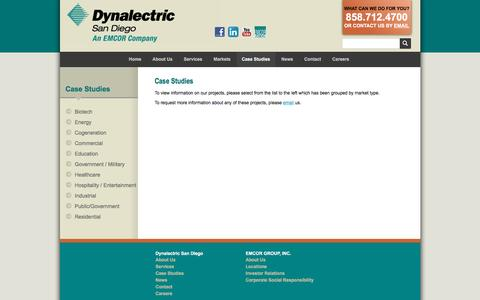 Screenshot of Case Studies Page dyna-sd.com - Dynalectric San Diego :: Case Studies - captured Nov. 24, 2016