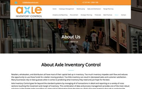 Screenshot of About Page axlecontrol.com - Axle Inventory Control - captured Oct. 4, 2018