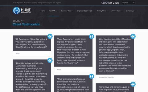 Screenshot of Testimonials Page huntmigration.com - Client Testimonials - captured Sept. 30, 2014