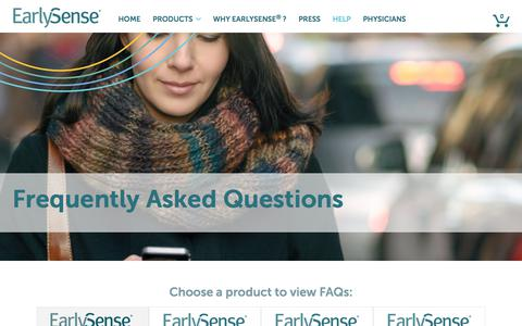 Screenshot of Contact Page FAQ Page earlysense.com - Frequently Asked Questions | EarlySense® Live™ + SmartShare™ - captured July 8, 2018