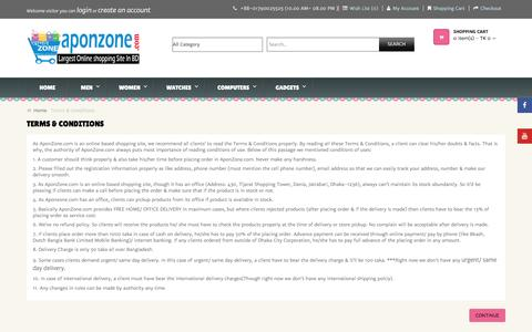 Screenshot of Terms Page aponzone.com - Terms & Conditions - captured Jan. 14, 2016