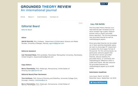 Screenshot of Team Page groundedtheoryreview.com - Editorial Board   Grounded Theory Review - captured June 25, 2016