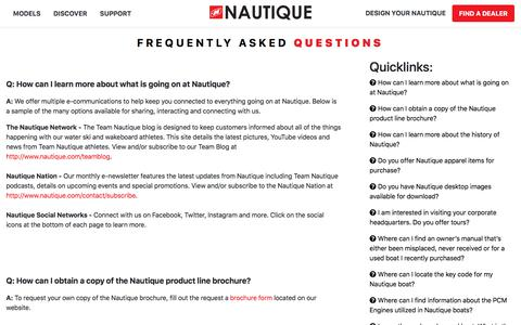 Screenshot of FAQ Page nautique.com - Nautique Wake Boats, Ski Boats, Water Skiing, Wake Surfing and Wakeboarding Boats by Correct Craft - captured Sept. 16, 2019