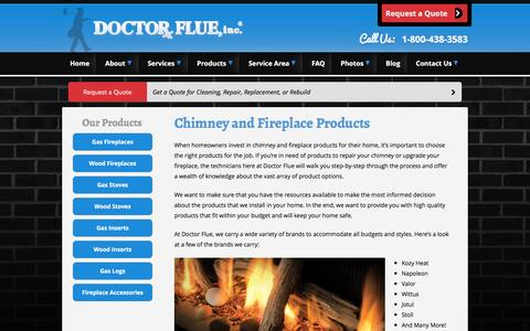Screenshot of Products Page doctorflue.com - Chimney & Fireplace Products | Doctor Flue - captured Nov. 24, 2016