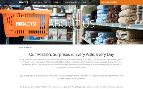 Screenshot of About Page biglots.com - About Us  | Big Lots - captured Jan. 21, 2017