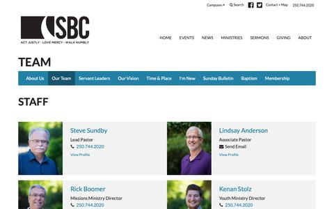 Screenshot of Team Page saanichbaptist.org - Team | Saanich Baptist Church - captured Oct. 1, 2018