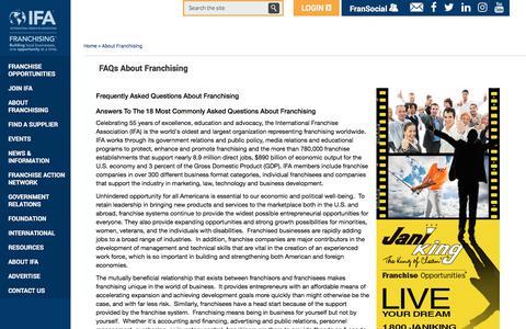Screenshot of FAQ Page franchise.org - FAQs about Franchising   International Franchise Association - captured Sept. 23, 2018