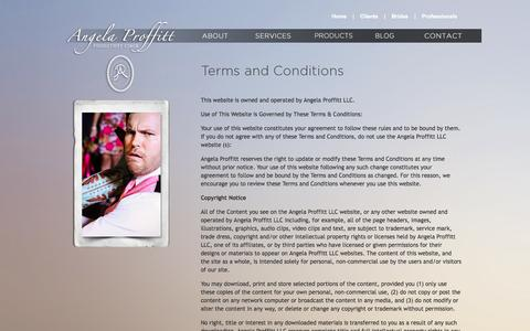 Screenshot of Terms Page angelaproffitt.com - Angela Proffitt | Contact | Terms and Conditions - captured Oct. 3, 2014