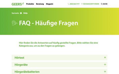 Screenshot of FAQ Page geers.de - FAQ / Häufige Fragen   GEERS - captured Nov. 7, 2018