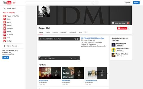 Screenshot of YouTube Page youtube.com - Daniel Mall  - YouTube - captured Nov. 3, 2014