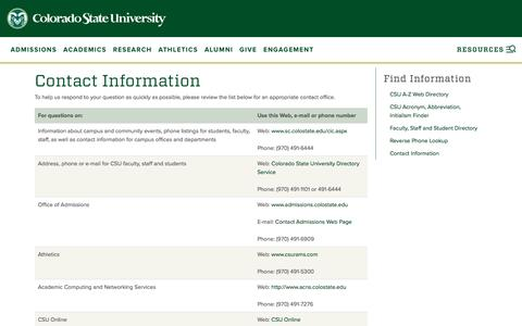 Screenshot of Contact Page colostate.edu - Contact Information | Colorado State University - captured July 3, 2016