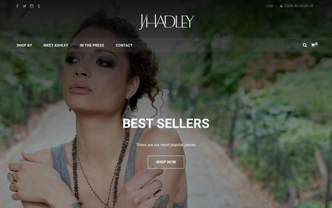 Screenshot of Home Page jhadleyjewelry.com - J/Hadley Jewelry - captured Sept. 28, 2016