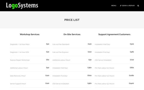 Screenshot of Pricing Page logosystems.co.uk - LogoSystems | Price List - captured Dec. 11, 2015