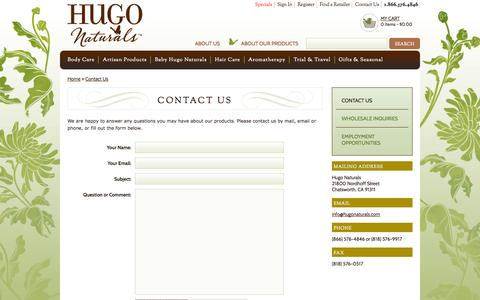 Screenshot of Contact Page hugonaturals.com - Hugo Naturals : contact-us - captured Oct. 22, 2014