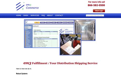 Screenshot of Services Page em3commerce.com - Automated Fulfillment Systems by em3 Commerce - captured Oct. 3, 2014