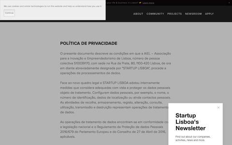 Screenshot of Privacy Page startuplisboa.com - Política de Privacidade — Startup Lisboa - captured July 26, 2018