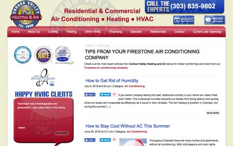 Screenshot of Blog carbonvalleyheatingandair.com - Firestone Heating & Air Conditioning Tips - HVAC Articles - captured July 16, 2018