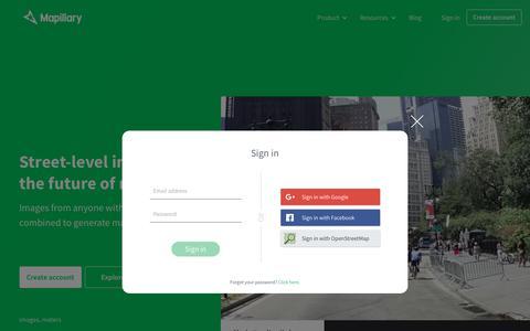 Screenshot of Login Page mapillary.com - Crowdsourced Street-level Photos - captured July 8, 2017