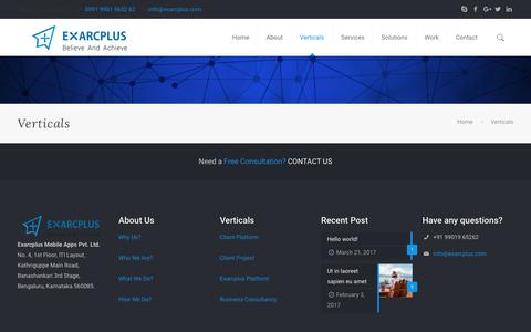 Verticals – Exarcplus Mobile Apps Pvt Ltd.