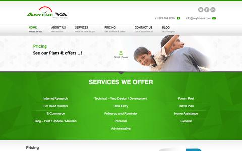 Screenshot of Pricing Page anytimeva.com - Virtual Assistant Price In India | Free Trial - captured Sept. 30, 2014