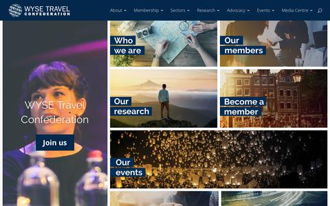Screenshot of Home Page wysetc.org - WYSE Travel Confederation - World Youth, Student and Educational Travel Confederation - captured Sept. 22, 2018