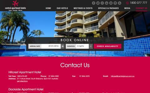 Screenshot of Contact Page centralapartmenthotels.com.au - Contact Us - Central Apartment Hotels, Brisbane - captured Jan. 26, 2016