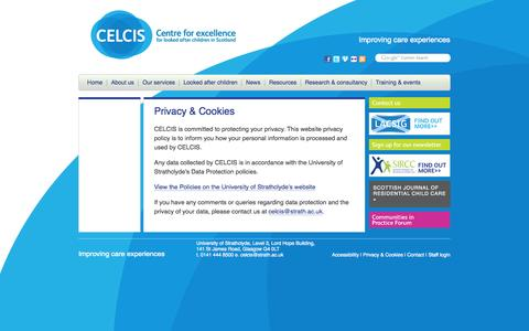 Screenshot of Privacy Page celcis.org - Privacy & Cookies | Celcis: Centre for Excellence for Looked After Children in Scotland - captured Sept. 26, 2014