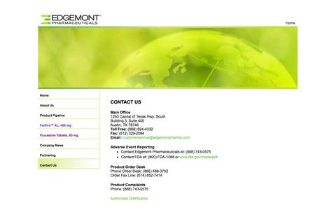 Screenshot of Contact Page edgemontpharma.com - Edgemont Pharmaceuticals - captured Sept. 16, 2014